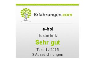 """e-hoi im Test von Erfahrungen.com mit """"Sehr gut"""" bewertet"""