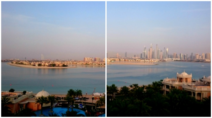 Blick vom Kempinski auf die Palmeninsel und auf die Dubai Marina