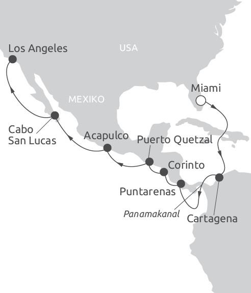 Route Miami Panamakanal Hollywood