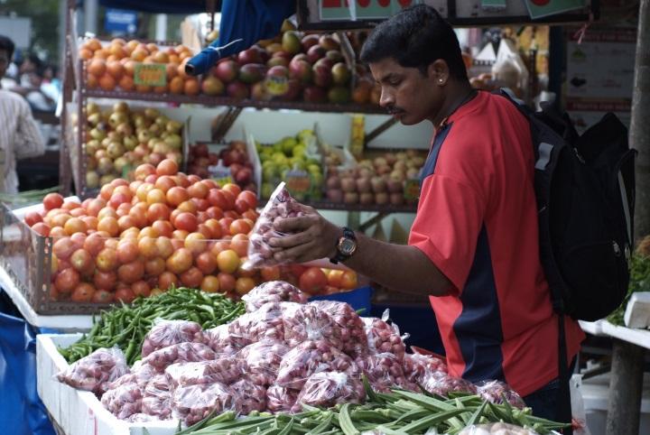 Lebensmittelmarkt in Little India Singapur
