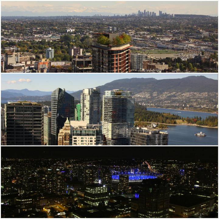 Ausblick vom Vancouver Lookout - bei Tag und bei Nacht