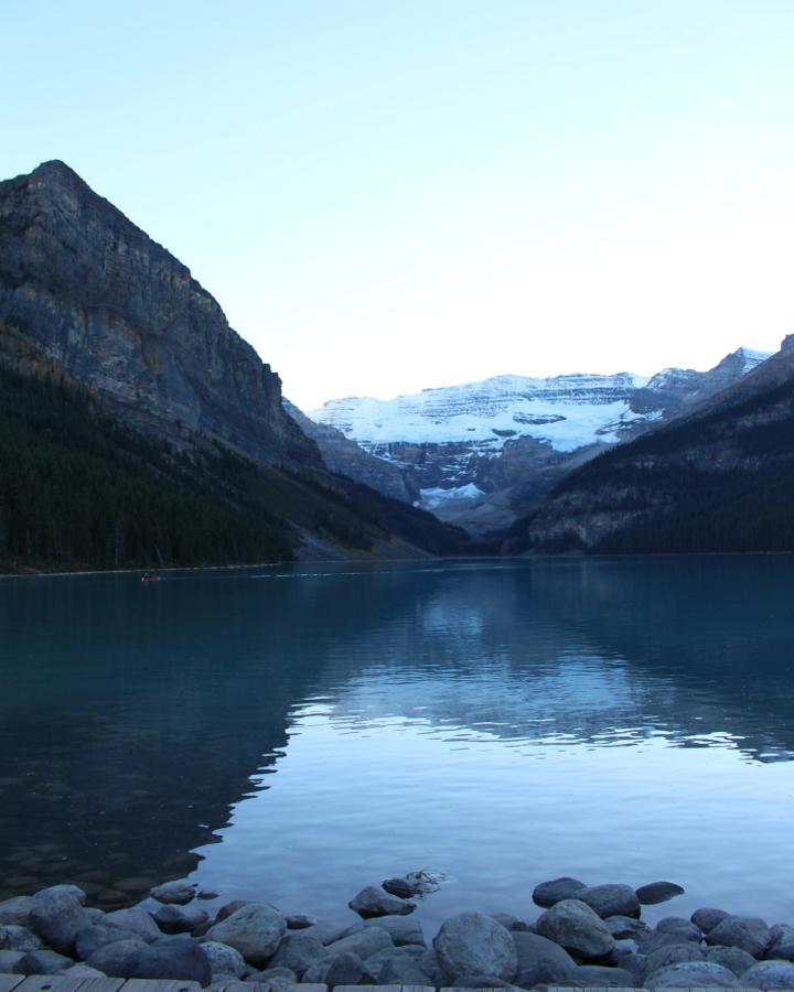 Sicht vom Hotel auf den Lake Louise