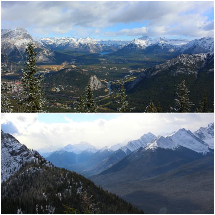 Schneereiches Bergpanorama des Sulphur Mountain